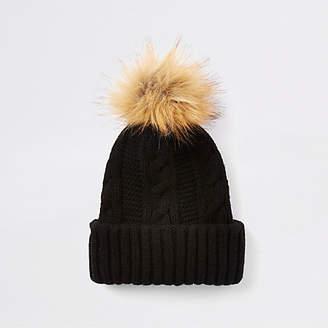 0690f520 River Island Womens Black cable knit pom pom hat