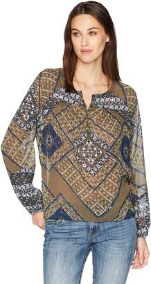 Lucky Brand Women's Printed Peasant Top