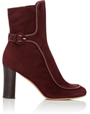 Derek Lam Women's Sam Piped Ankle Booties-BURGUNDY $995 thestylecure.com