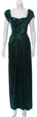 Blumarine Satin Maxi Dress green Satin Maxi Dress