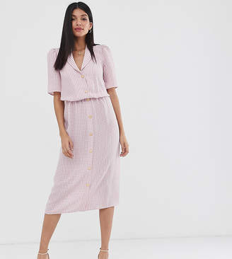 Fashion Union Tall button front midi shirt dress in gingham