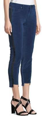 Parker Smith Twisted Tuxedo Velvet Step-Hem Jeans with Side Stripes
