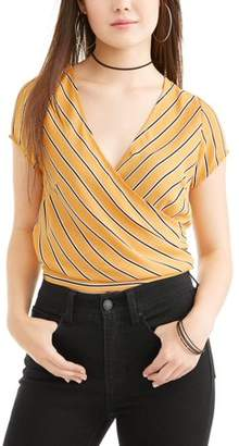 No Comment Juniors' Striped Short Sleeve Wrap Tie Back Blouse