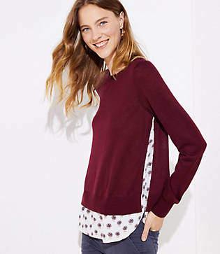 LOFT Dahlia Mixed Media Shirttail Sweater