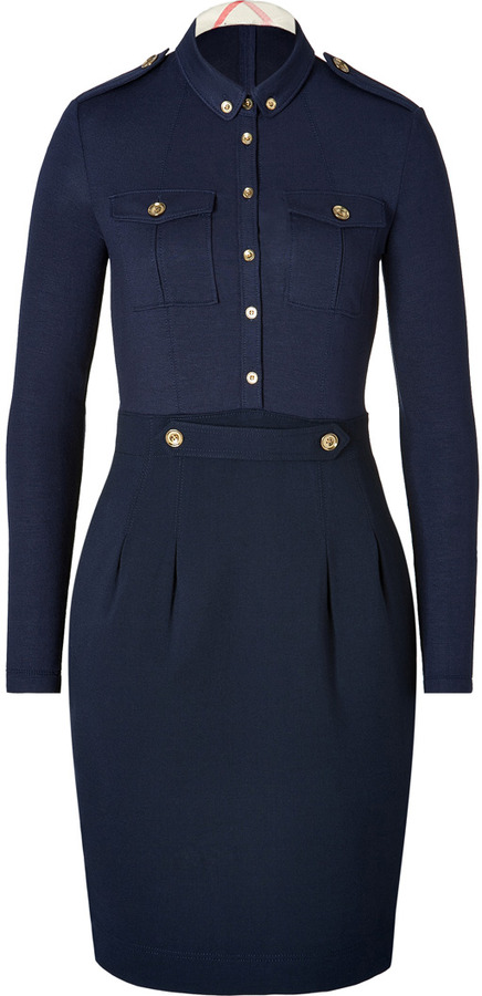 Burberry Wool Blend Dress in Deep Navy