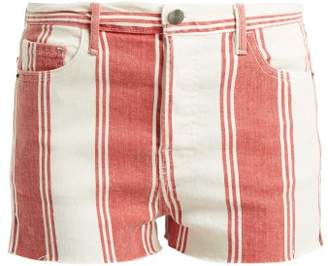 Frame Le Cut Off Striped Shorts - Womens - Red Multi