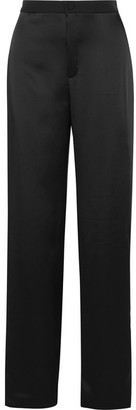 Lanvin - Striped Satin Wide-leg Pants - Black $1,490 thestylecure.com
