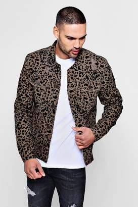 boohoo Skinny Fit Leopard Print Denim Jacket