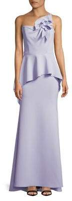 Nicole Bakti Ruffled Peplum Floor-Length Gown