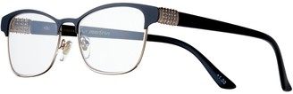 Foster Grant Women's Modera by Attina Crystal Accent Semi-Rimless Cat-Eye Reading Glasses
