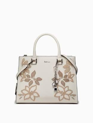 Calvin Klein saffiano leather floral dual zip satchel