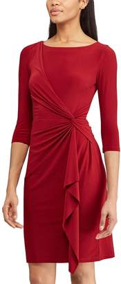 Chaps Petite Knot-Front Ruffle Sheath Dress