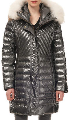 Gorski Quilted Puffer Ski Jacket w/ Detachable Fox-Fur Trim