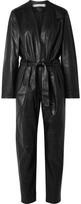 IRO Madryn Belted Leather Jumpsuit - Black
