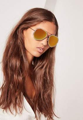 Missguided Gold Geometric Metal Frame Sunglasses