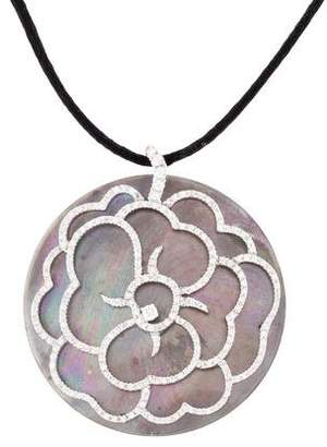 Mother of Pearl Andreoli 18K & Diamond Flower Pendant Necklace