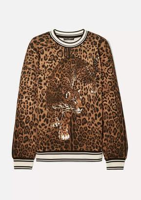 Dolce & Gabbana Stretch Silk-trimmed Leopard-print Cotton-jersey Sweatshirt - Brown