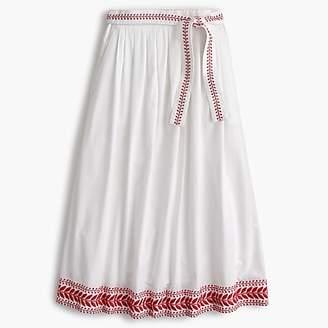 J.Crew Petite embroidered midi skirt
