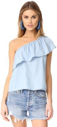 BB Dakota Inez Chambray One Shoulder Ruffle Top $80 thestylecure.com