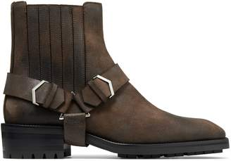 Jimmy Choo LOKK Saddle Oiled Suede Ankle Boots