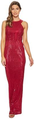 Adrianna Papell Sleeveless Stretch Sequin Halter Gown Women's Dress
