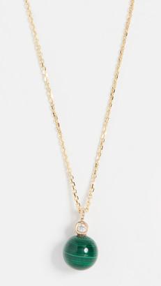 Mateo 14k Malachite and Diamond Dot Necklace