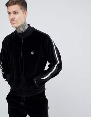 Religion half zip sweatshirt in black velour