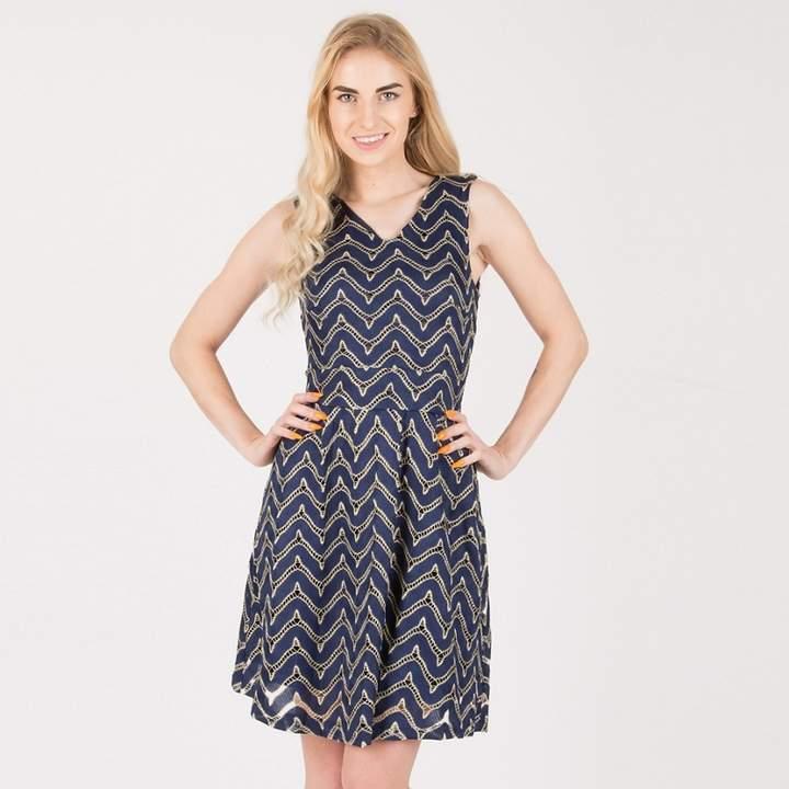 Tenki - Blue Sleeveless Shiny Patterned Skater Dress