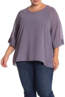 Bobeau Chiffon Overlay 3/4 Sleeve Blouse (Plus Size)