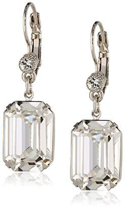 Swarovski 1928 Jewelry Bridal Crystal Silver-Tone Square Drop Earrings with Crystals