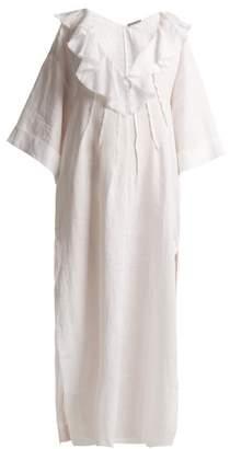 Three Graces London - Inez Ruffled Linen Kaftan - Womens - White