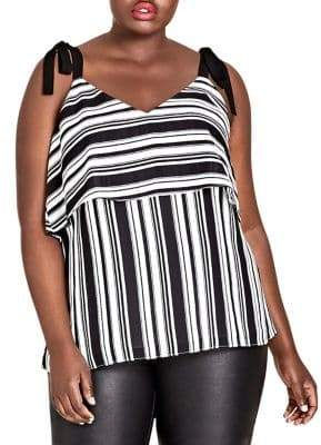 City Chic Plus Stripe it Lucky Tank Top