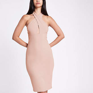 River Island Womens Pink jersey cross neck bodycon dress