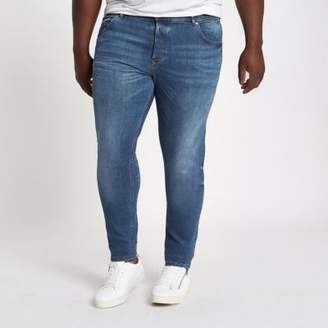 River Island Mens Big and Tall mid blue Eddy faded skinny jeans