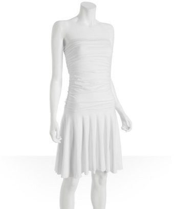 Fashionista white jersey ruched strapless dress