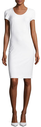 Armani Collezioni Tech-Cotton Sheath Dress, Off White $695 thestylecure.com