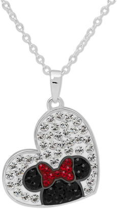 DISNEY Disney Minnie Mouse Silver Plated Brass Crystal Heart Pendant Necklace $149.98 thestylecure.com