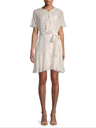 Gold Hawk Women's Silk Lace-up Mini Dress