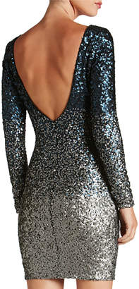 Dress the Population Lola Long-Sleeve Scoop-Back Ombre Sequined Mini Cocktail Dress