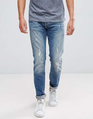 Jack and Jones Intelligence Jeans In Slim Fit With Distress Detail
