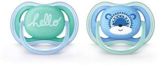 Avent Naturally Philips Ultra Air Pacifier 6-18m Fashion Decos -Blue/Green 2pk