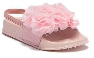 Nicole Miller Chiffon Flower Slide Sandal (Toddler)