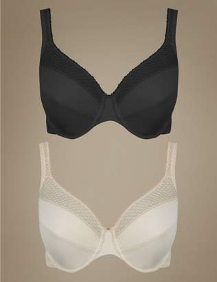 Marks and Spencer 2 Pack Geometric Lace Insert Non-Padded Minimiser Full Cup Bras C-G