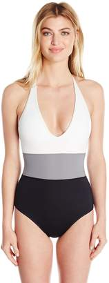 Vince Camuto Women's One Piece Swimsuit with Color Block Detail
