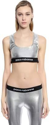 Paco Rabanne Logo Metallic Jersey Bra Top