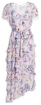 Zimmermann Corsage Orchid-Print Flutter Silk Dress