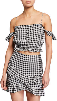 Lost + Wander Day Trip Off-the-Shoulder Gingham Crop Top