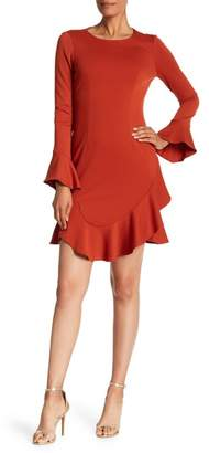 Tahari Ruffled Bell Sleeve Ponte Shift Dress