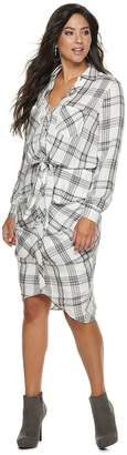 JLO by Jennifer Lopez Women's Plaid Midi Shirtdress