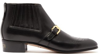 Gucci Buckled Perforated Leather Boots - Mens - Black